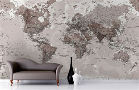world map wallpaper murals neutral shades world map wallpaper mural neutral tones
