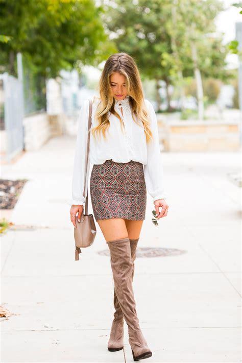 mini skirt knee boots fall