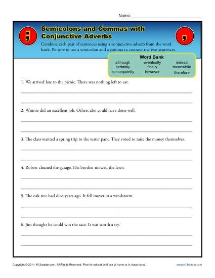 semicolons and commas with conjunctive adverbs
