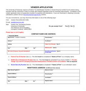 Account Application Form Template Word by Vendor Application Template 12 Free Word Pdf Documents