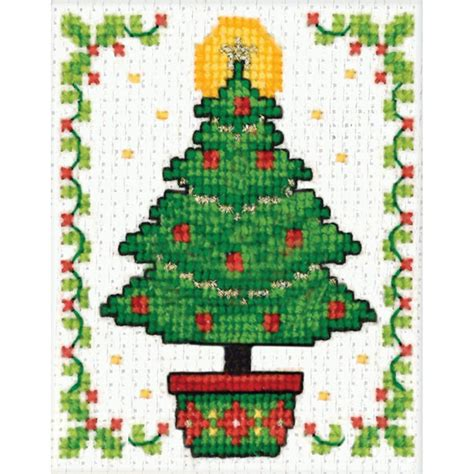christmas tree ornament counted cross stitch kit 2 quot x3