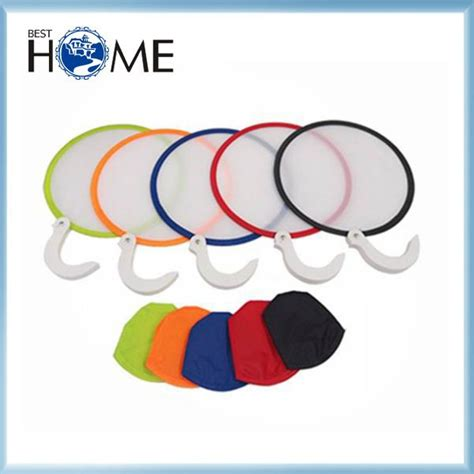 foldable fans with pouch 190t custom printed promotional round nylon folding fan