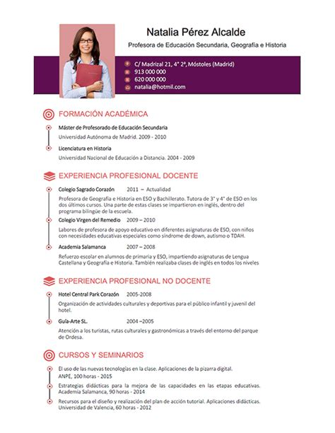 Modelo De Curriculum Vitae Para Trabajo De Docente Elaboraci 243 N Curriculum De Profesores Plantillas De Cv Para Enviar A Colegios Privados