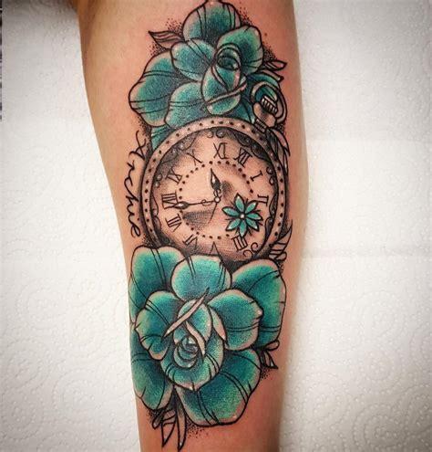 tattoo blumen mit uhr tattoo vorlagen bilder