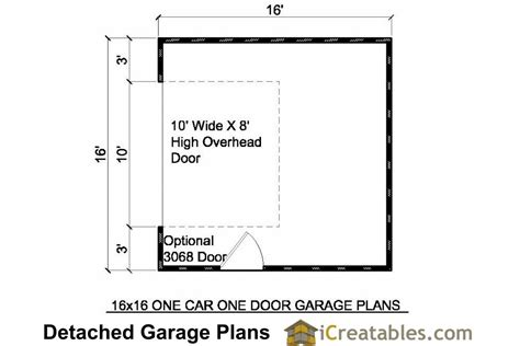 garage door floor plan 16x16 garage plans 1 car 1 door detached garage plans