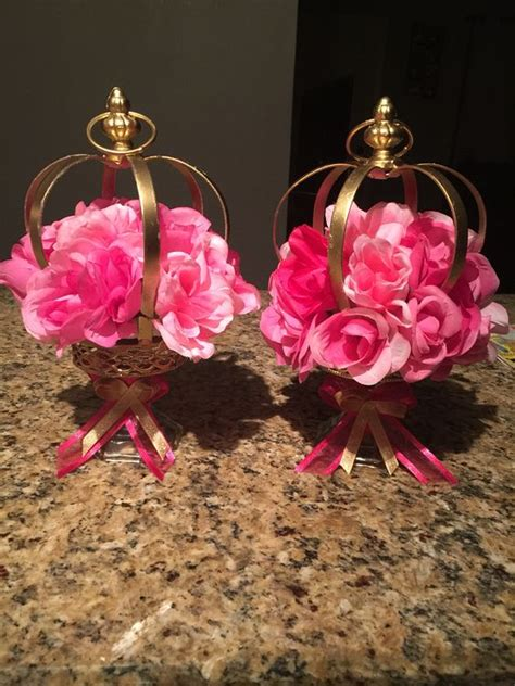 crown centerpieces princess theme centerpieces pink and