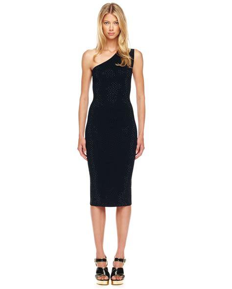 Hm Stud Dress Branded michael kors one shoulder studded dress in black lyst