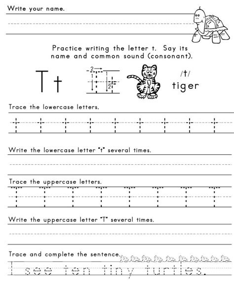 Letter T Worksheet Kindergarten by The Letter T