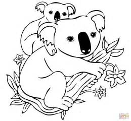Baby Koala On Mothers Back Coloring Page  SuperColoringcom sketch template
