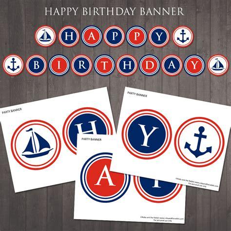printable banner etsy printable nautical happy birthday banner instant
