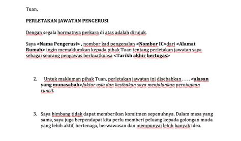 Contoh Surat Resign Notis 24 Jam Suratmenyuratnet