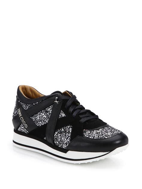 s jimmy choo sneakers jimmy choo glitter leather sneakers in black lyst