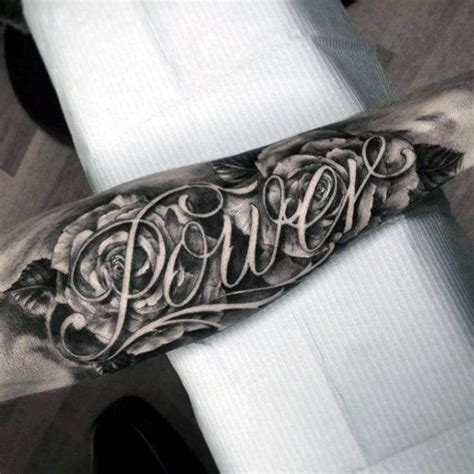 negative space rose tattoo negative space flower powers name forearm