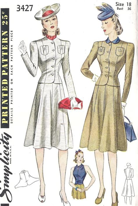 sewing pattern gilet 1940s misses suit with jacket skirt and halter style