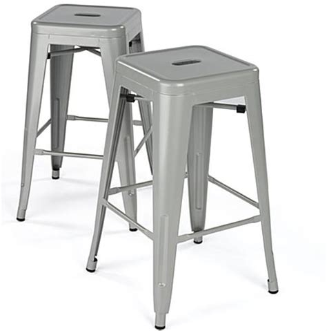 Silver Counter Height Stools by Modern Metal Counter Stools Silver Finish