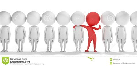 3d smart red man is different from the others royalty free