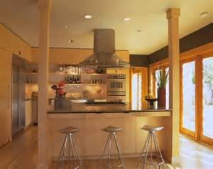 kitchen island with posts contemporary kitchen by mark brand architecture