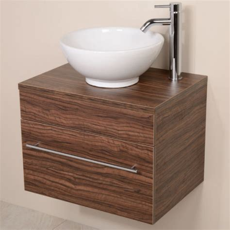 Bathroom Wall Hung Furniture Aspen 600 Wall Mounted Walnut Cabinet With Pacific Basin