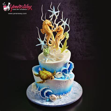underwater theme wedding cake  sugar seahorses topper yeners