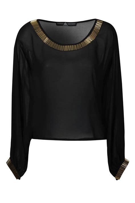 black sleeve chiffon batwing top with
