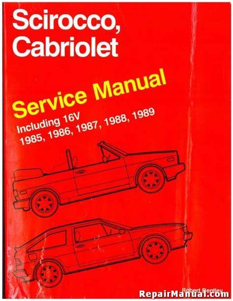 used volkswagen cabriolet scirocco service manual 1985 1989