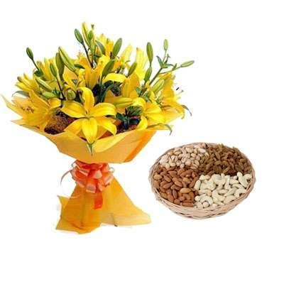 Buy/Send Yellow Lily & Dry Fruits Online in India Same Day