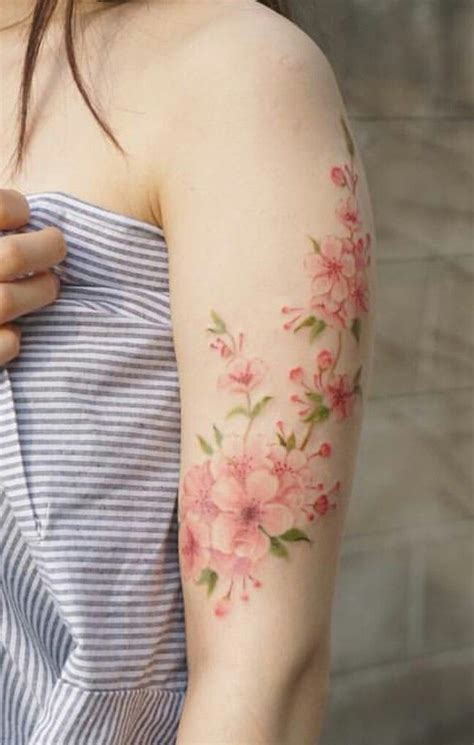 watercolor tattoo pain japanese cherry blossom so worth the tatto