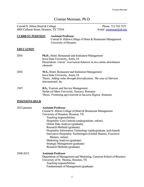 sle resume for hotel and restaurant management graduate cristian morosan by college of houston