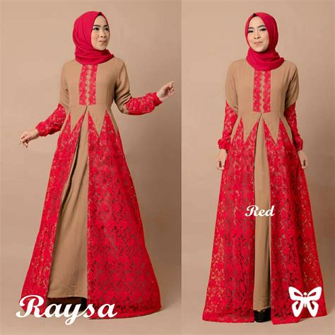 Dress Muslim Terbaru Model Dress Muslim Kombinasi Brukat Model Dress Brukat