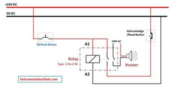 relay latching circuit using push button instrumentation tools