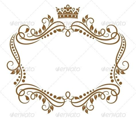 Retro Frame With Royal Crown And Flowers Medicine Editor And Design Elements Crown Royal Label Template