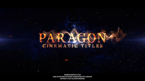 Paragon Cinematic Titles After Effects Template Videohive 19421255 After Effects Templates Cinematic Title After Effects Template