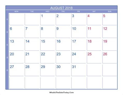 best august 2018 calendar printable free monthly