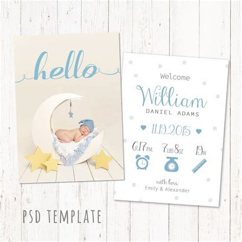 baby announcements card template birth announcement template card digital baby boy birth