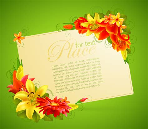 Greeting Card With Gift Card - flower greeting cards 05 vector free vector 4vector