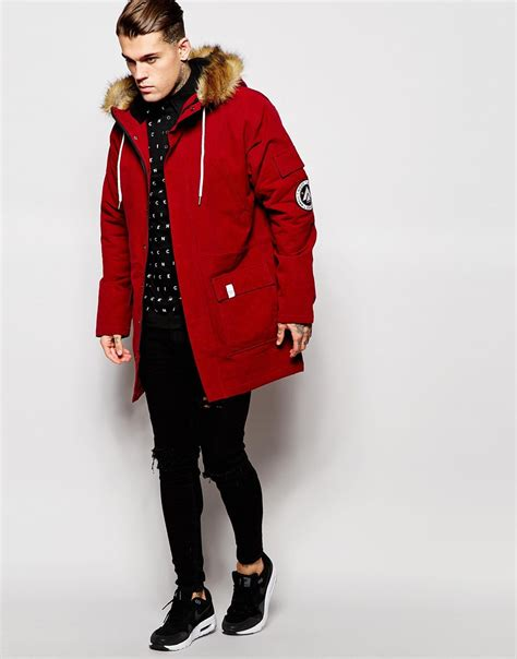 Parka Canvas Maroon Quality nicce canvas parka with faux fur in for lyst