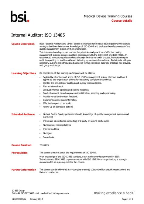 Iso Auditor Sle Resume by Auditor Iso13485