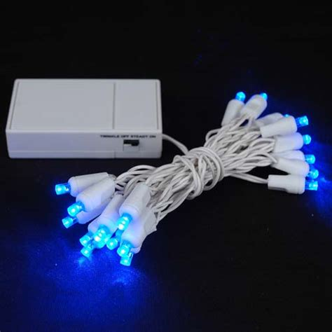 20 led battery operated lights blue on white wire