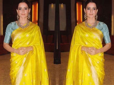 Bloomy Blouse pic kangana ranaut looks bloomy in a yellow saree kangana ranaut s most fashionable outings