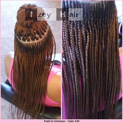 feed in cornrows (french braids). color 30 – izey hair protective styling