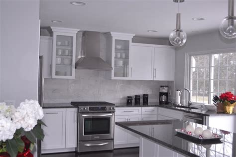 grey kitchen cabinets with granite countertops gray granite countertops contemporary kitchen behr