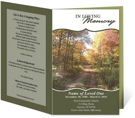 funeral bulletin templates printable funeral bulletins templates for outdoor theme