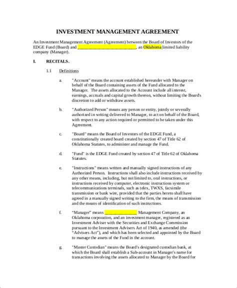 Agreement Letter For Investment Sle Investment Management Agreement 6 Documents In Pdf