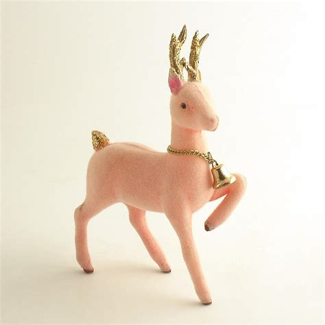 vintage pink reindeer figurine christmas decoration