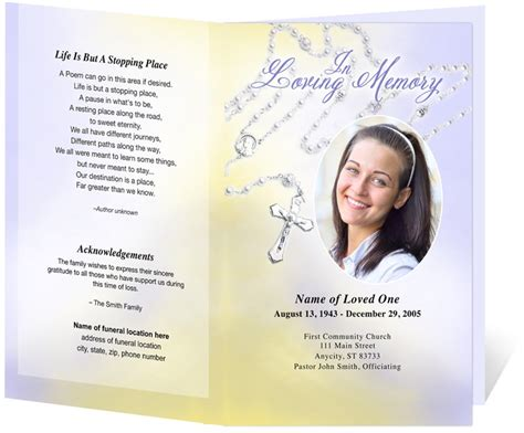 Funeral Brochure Template Catholic Funeral Programs Single Fold Program
