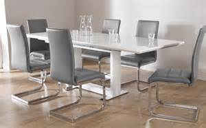 Dining Table And Chairs White Tokyo White High Gloss Extending Dining Table And 6 Chairs Set Perth Grey Only 163 699 99