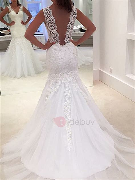 Sheer Back Appliques Mermaid Lace Wedding Dress : Tidebuy.com