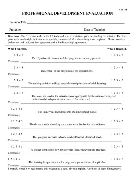 professional development evaluation form template professional development evaluation form 2 free