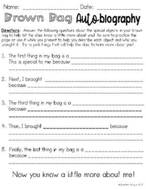 activities for biography and autobiography brown bag biography freebi by samantha almaguer