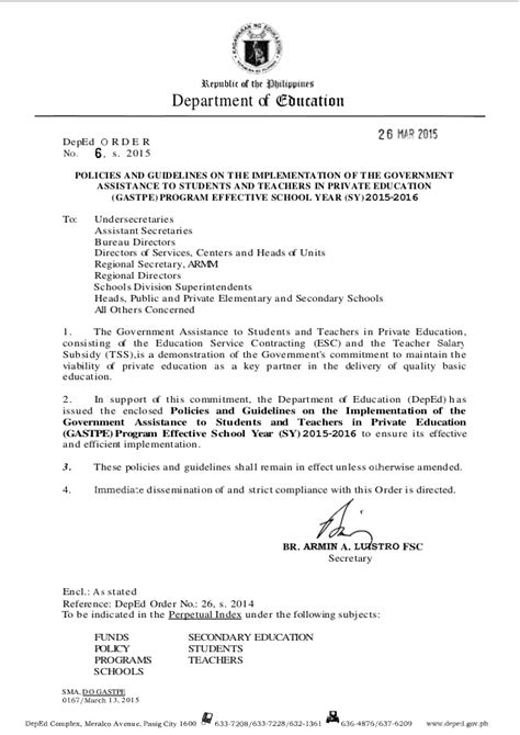 Letter Of Intent Deped Guidelines On The Implementation Of Government Assistance To Students